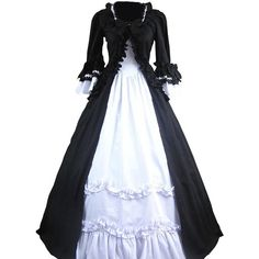 Partiss Women's Classic Gothic Prom Lolita Dress at Amazon Women's... ($86) ❤ liked on Polyvore featuring dresses, goth prom dresses, prom dresses, gothic dress, gothic prom dresses and gothic clothing dresses