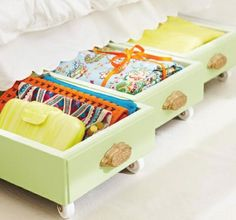 Upcycling -- Grab some inexpensive dolly wheels from your local hardware shop and whack them on the bottom of some old drawers for a fantastic under the bed storage solution.