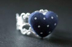 Navy Blue Heart Ring. Polkadot Ring. by StumblingOnSainthood, $14.00