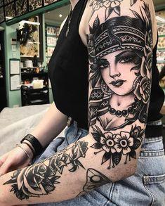 Gypsy Tattoo Design, Tattoo Designs, Theme Tattoo, Tattoo Themes, Gypsy Tattoo Sleeve, Sleeve Tattoos, Old School Tattoo Sleeve, Head Tattoos, Body Art Tattoos