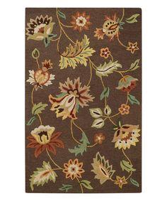 Love this Chocolate Garden Flowers Wool Rug on #zulily! #zulilyfinds