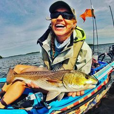 """Check out this lovely one spot Red caught by Christina """"@redfeesh"""" Weber! What a beauty  Give her a follow and SUB her YT channel to keep up with her kayak fishing adventures - link via bio  #redfish #fishing #angling #fishpic #kayakfishing #inshore #offshorelife #florida #floridafishing #hookedup #hookedupnetwork #fishon #yak by hookedup.fish"""