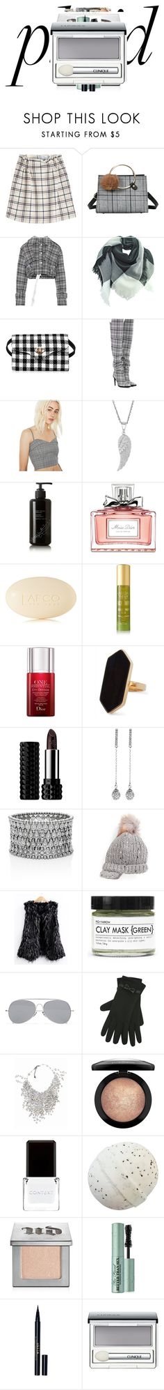 """""""Gray plaid"""" by knmaem on Polyvore featuring Carven, Off-White, re:named, Kahina Giving Beauty, Christian Dior, LAFCO, Tracie Martyn, Jaeger, Kat Von D and Love Rocks"""