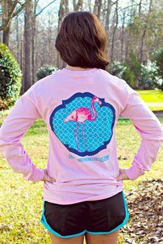 Preppy Flamingo Long Sleeve Tee $34.99 #SouthernFriedChics