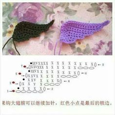 Best 12 How to Crochet Angel Wings – SkillOfKing. Crochet Angel Pattern, Crochet Angels, Crochet Birds, Crochet Diagram, Freeform Crochet, Crochet Chart, Cute Crochet, Crochet Motif, Crochet Flowers