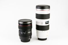 Canon Camera Lens Mugs - A Canon zoom and telephoto lens that are actually coffee mugs. Need we say more? ($24.00, http://photojojo.com/store)