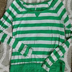 Cute splendid top Soft green stripe top.  It is in great  condition:) fun cute top wonderful as a layer piece;)♡ enjoy:) Splendid Tops