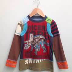 Upcycled Boys Tshirt tricerotops Size 4T/5T Europ size by dressme, $37.50