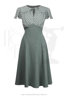 40s Grable Tea Dress - Sage Polka £99.00 AT vintagedancer.com