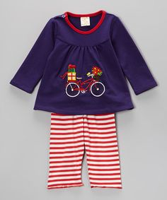 Purple & Red Bike Top & Stripe Pants - Infant & Toddler by the Silly Sissy #zulilyfinds