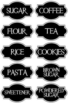 A very chic set of 10 Vinyl Kitchen Canister Labels.: