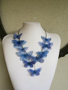 I Will Fly Away - Handmade Fender Blue Silk Organza Butterflies Necklace - Ready for Shipment by TheButterfliesShop on Etsy