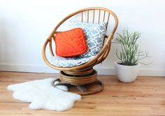 70's cane swivel upcycled chair - Google Search