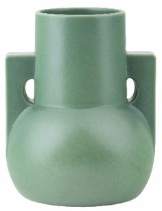 Weller Pottery, Baldin  |   handled, squat vase, matte green glaze