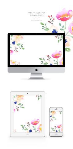 Beautiful free watercolor floral wallpapers - gorgeous!