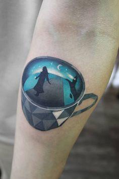 Cup tattoo by tattoo artist Polyc SJ Pop Art Tattoos, Sexy Tattoos, Black Tattoos, Tattoos For Women, Woman Tattoos, Different Styles Of Tattoos, Small Tattoos With Meaning, Professional Tattoo Kits, Cup Tattoo