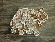 Large Elephant Stamp, Hand Carved Wood Stamp, Handmade Indian Elephant Wooden Printing Block, Ceramics Textile Pottery Stamp, From India Indian Elephant, Elephant Art, Indian Crafts, Indian Art, Block Printing Designs, Hand Carved, Carved Wood, Stamp Carving, Batik Pattern