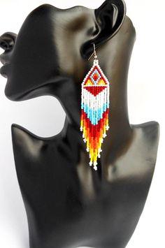Native beaded earrings native america indian jewelry native beadwork native earrings native americans jewelry boho long earrings for women Native American Beaded earrings Earrings made of Japanese beads. Length of earrings 12,5 cm =4.95 inches. Width of earrings 2,53 cm or 1