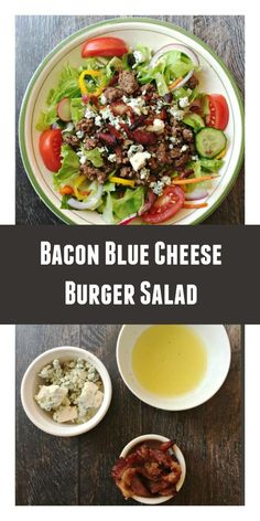 Add Salemville® Blue Cheese to make this low-carb Bacon Blue Cheese Burger Salad as your weekend treat. Main Dish Salads, Dinner Salads, Low Carb Dinner Recipes, Cooking Recipes, Hcg Recipes, Recipies, Burger Salad, Blue Cheese Burgers, Soup And Salad