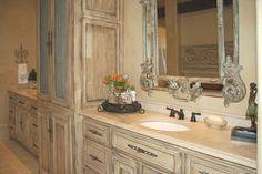 Master bathroom remodel. White/brown look.