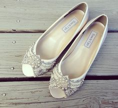 Gatsby Peep Toe Wedge Wedding shoes All full by BeholdenBridal