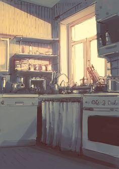 New morning lighting illustration 62 ideas Japon Illustration, Digital Illustration, Personajes Studio Ghibli, Ai No Kusabi, Drawn Art, Animation Background, Environment Design, Anime Scenery, Oeuvre D'art
