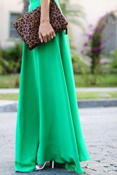 Kelly green maxi + leopard clutch