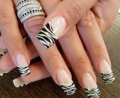 Black and white zebra print tip nails are always fun to wear. Rock these nails at your next party! Zebra Nail Designs, Zebra Nail Art, Funky Nail Art, Best Nail Art Designs, Cool Nail Art, Leopard Nails, Fancy Nails, Love Nails, Pretty Nails