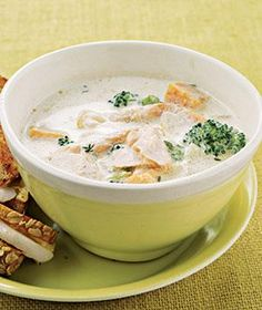 Loaded with sweet potatoes and broccoli, this satisfying chowder can be also be made with chicken or pork.