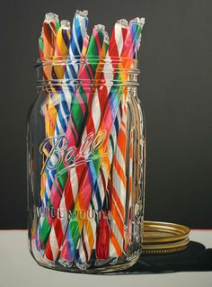 Daryl Gortner Watercolor ~ Mason Jar with candy sticks