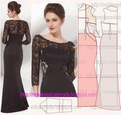 Mais uma bela opção de vestido de festa longo de renda com o passo a passo do molde. Existem muitas opções de vestidos nesta vertente publicados na página.