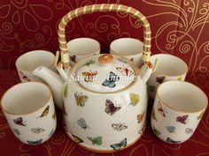 juego de te de porcelana shabby chic tetera + 6 tazas e/caja