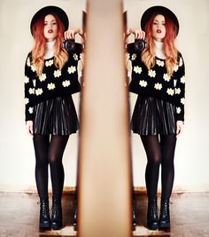 Black leather skater skirt black sheer tights black printed sweater