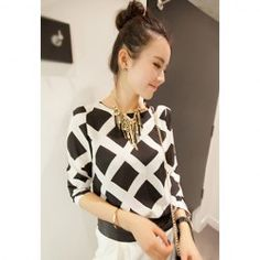 $6.22 Ladylike Round Neck Checked Print Long Sleeve Chiffon Shirt For Women