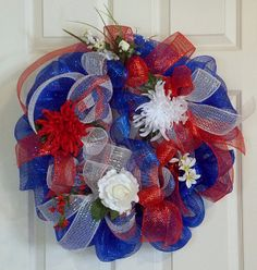 Fourth of July Wreath Deco Mesh Wreath, Holidays, Red White and Blue Wreath, Floral Wreath via Etsy Mesh Ribbon Wreaths, Deco Mesh Wreaths, Floral Wreaths, Holiday Wreaths, Holiday Crafts, Holiday Decor, Patriotic Wreath, 4th Of July Wreath, Wreath Crafts