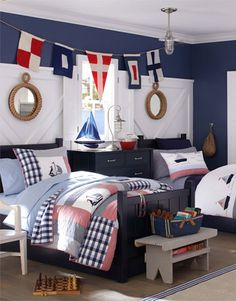 Transitioning nautical nursery to toddler room - Pottery Barn Kids - two boys shared room