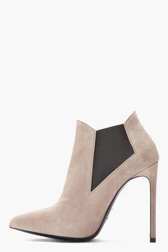 SAINT LAURENT Taupe suede Paris Ela ankle Boots