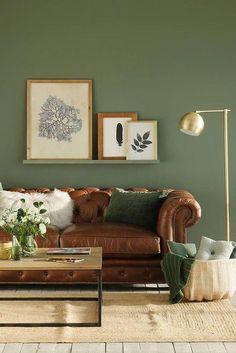 Διακόσμηση εσωτερικών χώρων στο Πράσινο της ελιάς Living Room Green, Green Rooms, Living Room Interior, Home Living Room, Living Room Wall Ideas, Barn Living, Interior Livingroom, Apartment Living, Living Area