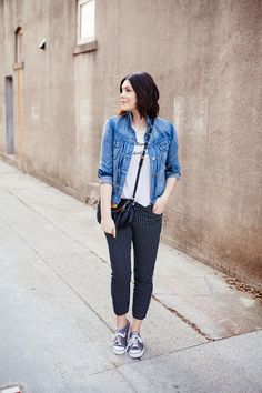 3.14 pixie (J Crew Factory denim jacket + J Crew graphic tee + Old Navy 'pixie' pants + Converse sneakers + Marc Jacobs purse)