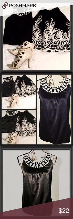 Beautiful Embellish black blouse NWT Black embellish collar black sleeveless blouse, silky, very elegant great for holiday parties 🎉 Express Tops Blouses