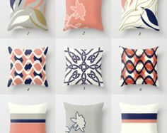Azules y marrón almohadas funda de almohada por DesignbyJuliaBars