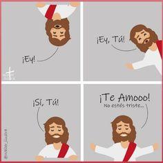 cuestión de fé, cuestión de amor... I Love You God, Jesus Loves You, God Is Good, Gods Love, Mary And Jesus, Jesus Is Lord, Christian Life, Christian Quotes, Jesus Cartoon