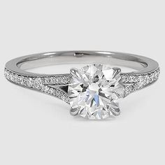 Platinum Duet Diamond Ring // Set with a 1.31 Carat, Round, Super Ideal Cut, H…