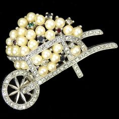 Jomaz Pave Wheelbarrow Full of Pearls and Multicolour Spangles Pin