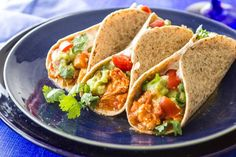 Crockpot Chicken Tacos save tons of time and deliver a healthy, delicious family meal!  #crockpot #chickentacos