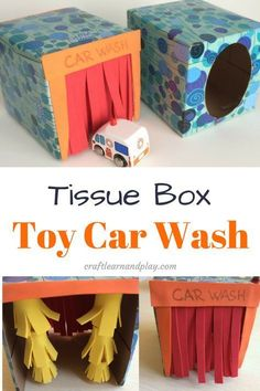 Easy Crafts: How to Make a Tissue Box Toy Car Wash - Kinderspielzeug diy - Crafts Kids Crafts, Toddler Crafts, Preschool Crafts, Projects For Kids, Diy For Kids, Easy Crafts, Craft Projects, Diy Toys For Toddlers, Summer Crafts