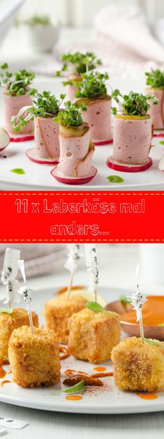 Leberkäse with a difference! Just right for party buffet and co! Low Carb Burger, Oktoberfest Party, Christmas Appetizers, Wrap Sandwiches, Autumn Trees, Bento, Lorem Ipsum, Brunch, Food And Drink
