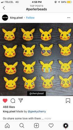 Perler Bead Templates, Pearler Bead Patterns, Perler Patterns, Pokemon Perler Beads, Diy Perler Beads, Pikachu, Pokemon Cross Stitch, Art Perle, Hama Beads Design