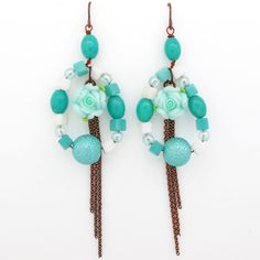 Classic Green Clay Bead Drop Earrings ,US$8.28-VogueBeauty