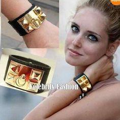 Fashion Bangle Leather Wristband Vintage Punk GOLD Stud Pyramid Bracelet Cuff  #Unbrand #fashion
